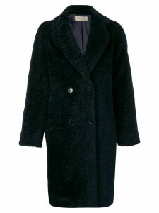 Blanca textured double breasted coat - Blue