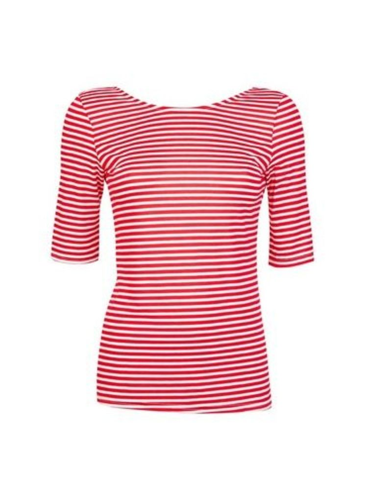 Womens Red Striped Scoop Back Top- Red, Red