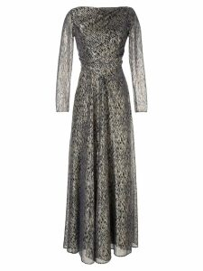 Talbot Runhof patterned wrap dress - Metallic