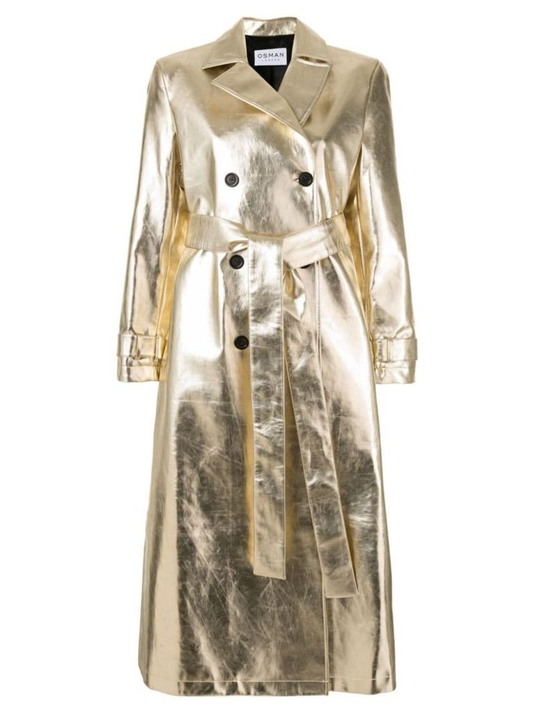 Osman double-breasted metallic trench coat - Gold
