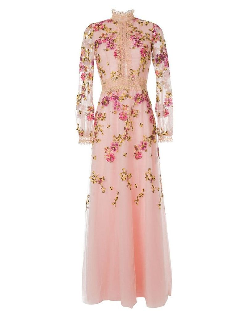 Costarellos flower-embroidered gown - Pink