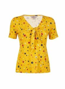 Womens Petite Yellow Ditsy Print Tie Top- Orange, Orange