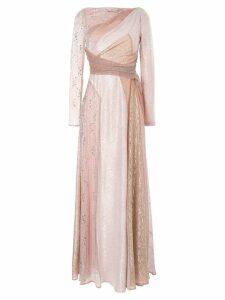 Talbot Runhof long-sleeve flared maxi dress - Pink