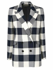 Roland Mouret waffled checked blazer - Blue