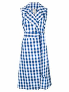 Maison Rabih Kayrouz sleeveless plaid coat - Blue