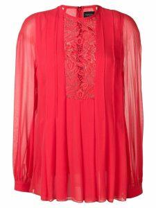 Giambattista Valli floral lace insert blouse - Red