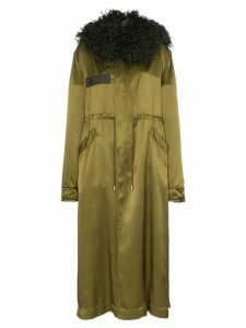 Mr & Mrs Italy hooded tie waist satin parka coat - Green