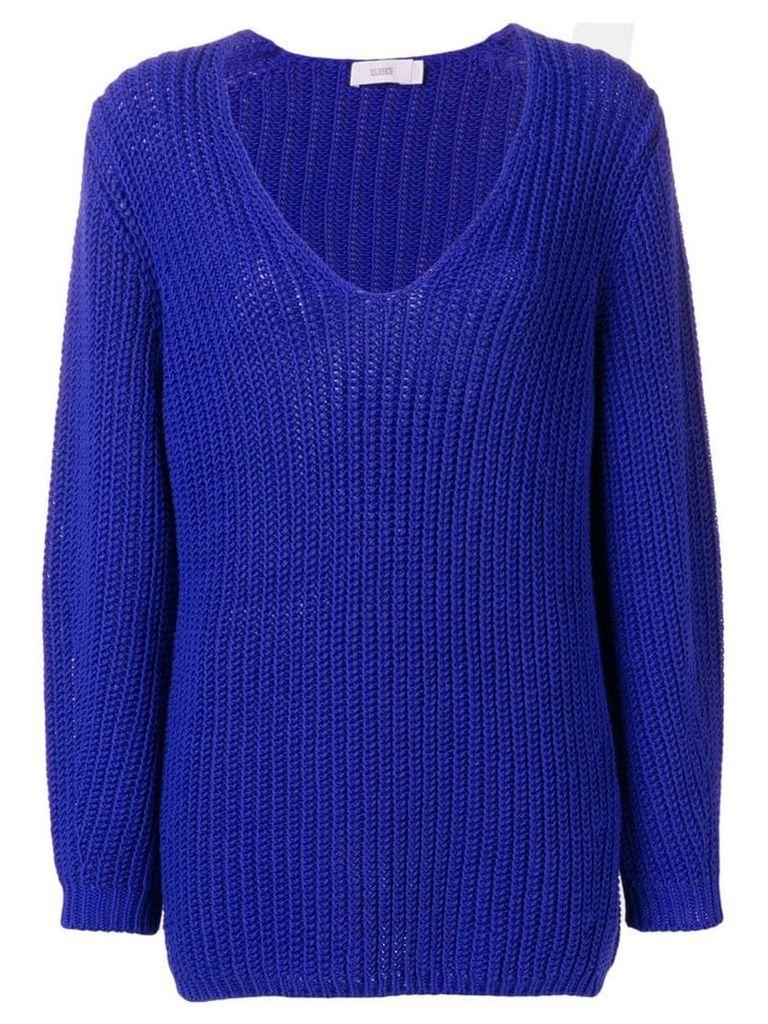 Closed scoop neck jumper - Blue