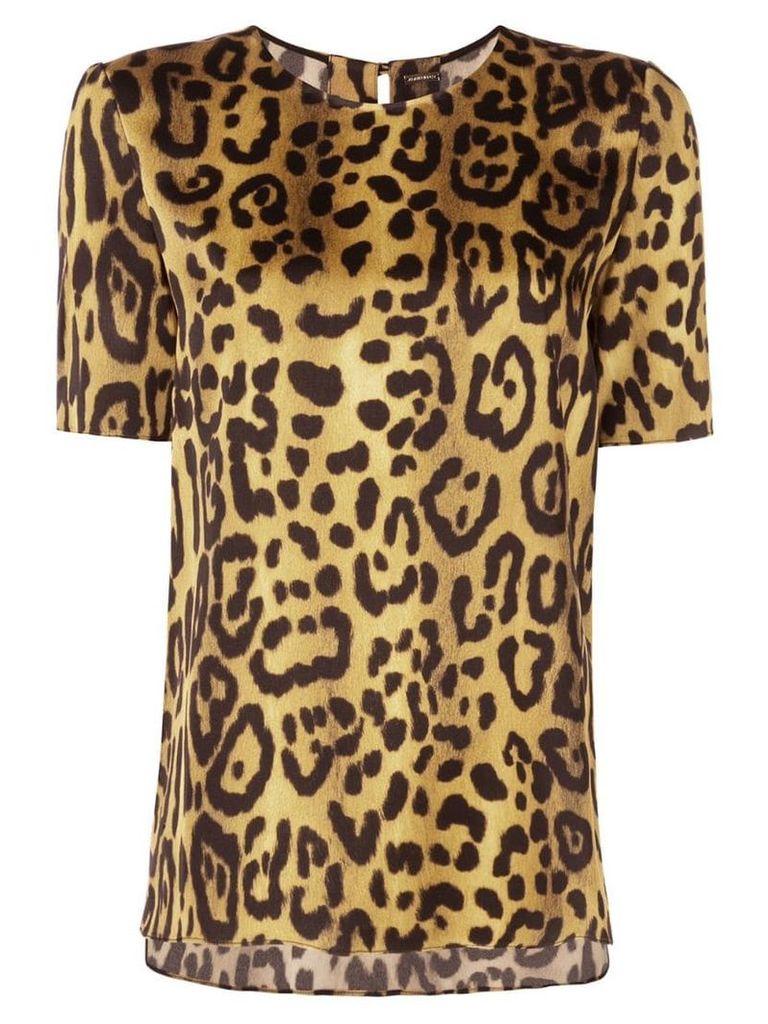 Adam Lippes jaguar print T-shirt - Gold