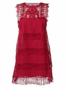 Alberta Ferretti fringed hem mini dress - Red