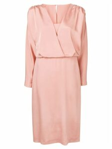 Alberta Ferretti satin V dress - Pink