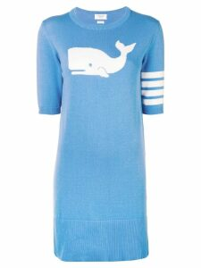 Thom Browne 4-Bar Whale Icon Intarsia Minidress - Blue