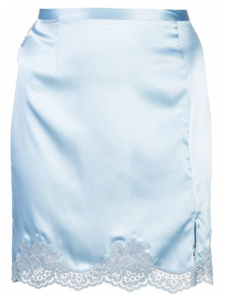 Fleur Du Mal James lace slip skirt - Blue