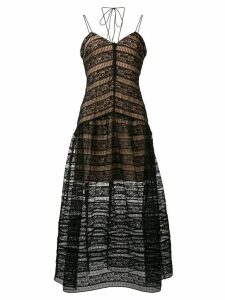 Self-Portrait lace embroidered flared dress - Black