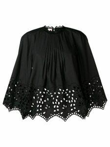 Giamba gathered embroidered swing blouse - Black