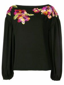 Josie Natori embroidered flower blouse - Black