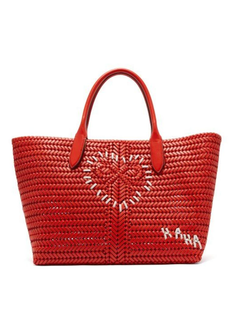 Anya Hindmarch - The Neeson Large Woven Leather Tote Bag - Womens - Red