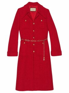 Gucci Tweed coat with horsebit belt - Red