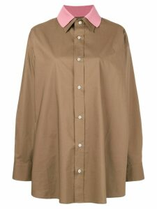 Plan C Havana layered shirt - Brown