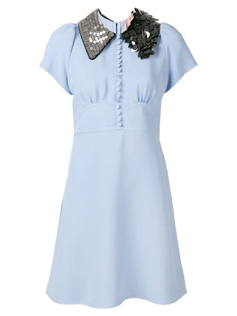 Nº21 embellished-collar shift dress - Blue