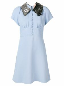 Nº21 embellished-collar shift dress - Blue