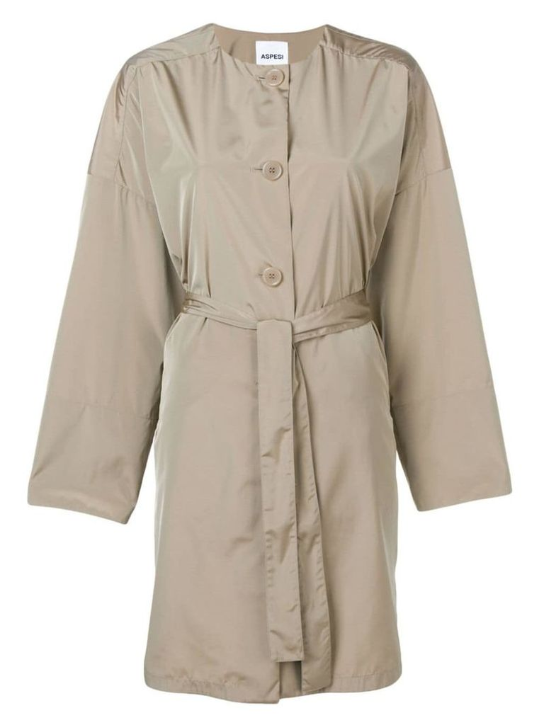 Aspesi belted collarless coat - Neutrals