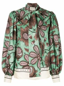 Gucci pussy-bow blouse - Green