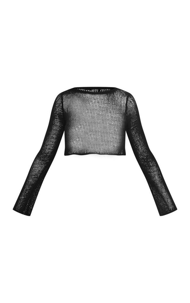 Black Open Knit Cropped Jumper, Black