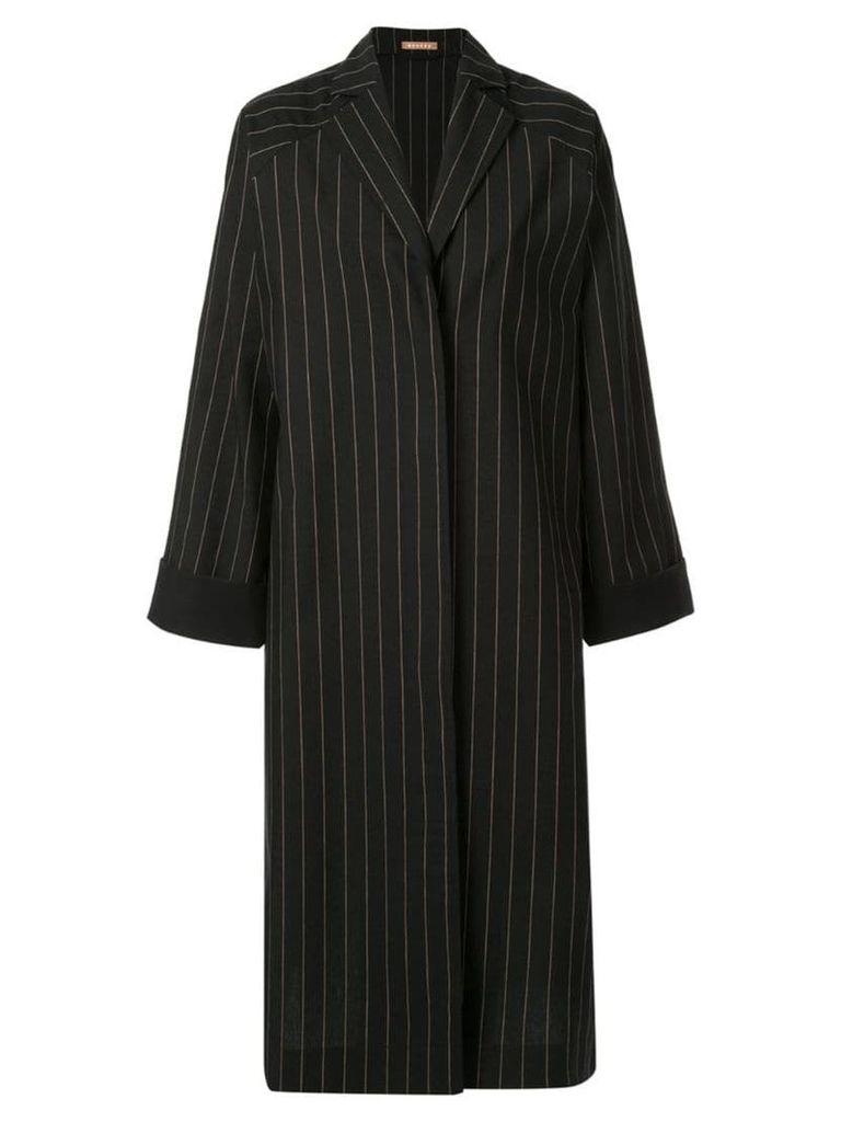 Nehera Coron pinstripe canvas duster coat - Black