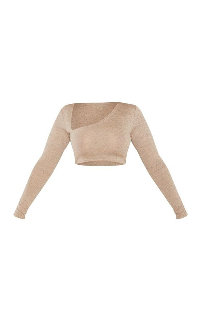 Shape Stone Jersey Cut Out Crop Top, White