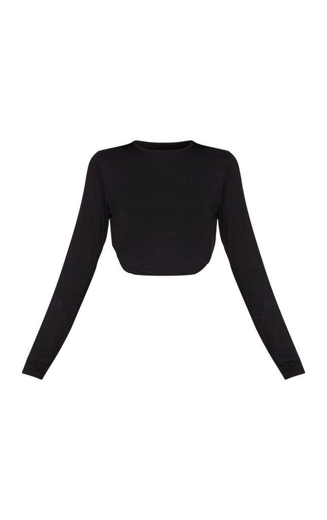 Black Jersey Curve Hem Long Sleeve Crop Top, Black