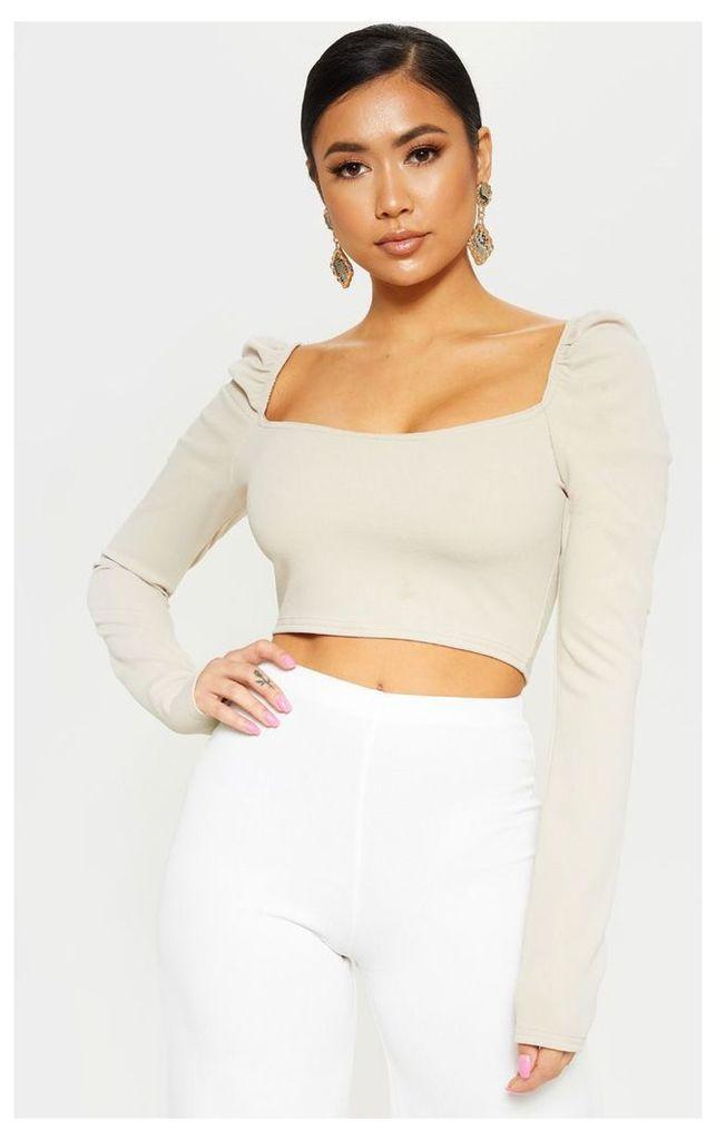 Petite Stone Puff Sleeve Crop Top, White