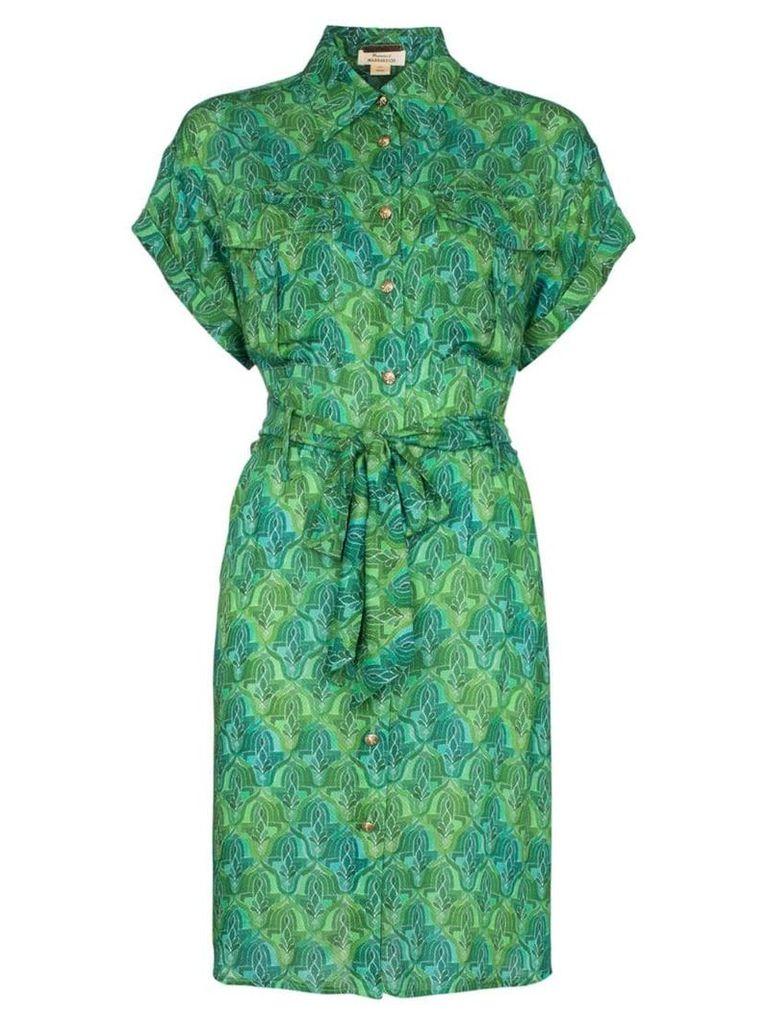 Chufy Tarabel abstract-print belted shirt dress - Green