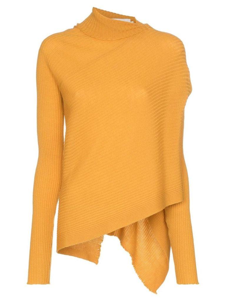 Marques'Almeida mock neck asymmetric-hem merino wool jumper - Yellow