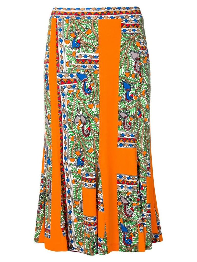 Tory Burch abstract print midi skirt - Orange