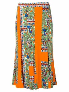 Tory Burch abstract print midi skirt - Orange