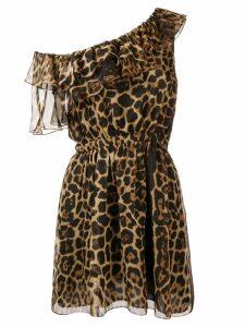 Saint Laurent one-shoulder leopard print dress - Brown