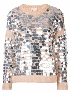 Nude sequin embroidered sweater - Neutrals
