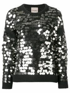 Nude sequin embroidered sweater - Black