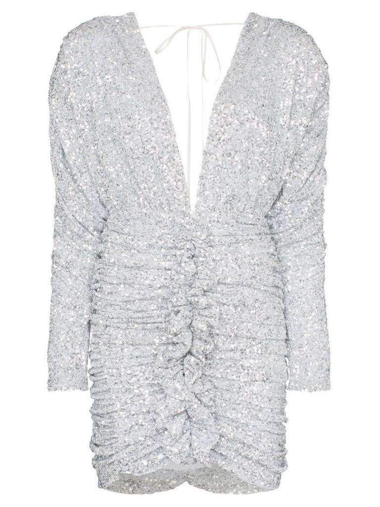 Attico Sequin-embellished ruched mini-dress - Metallic