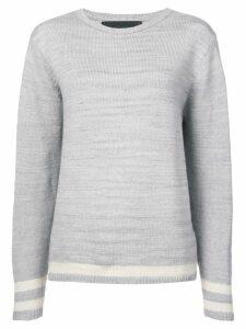The Elder Statesman cashmere stripe detail sweater - Grey