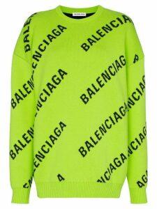 Balenciaga intarsia logo oversized cotton-blend jumper - Green