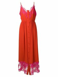 MSGM lace inserts long dress - Red