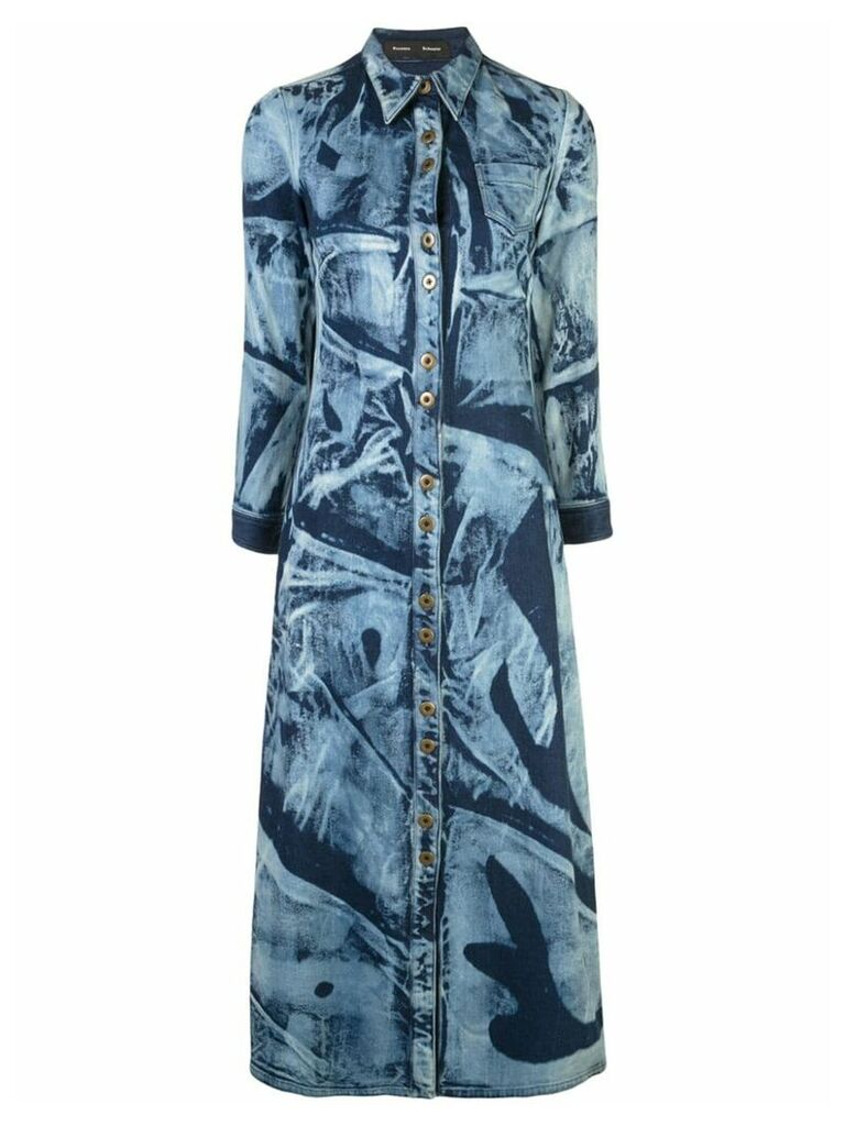 Proenza Schouler Bleached Denim Shirt Dress - Blue