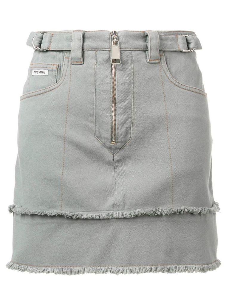 Miu Miu zip fringed denim skirt - Grey
