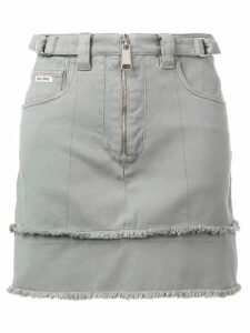 Miu Miu zip fringed denim skirt - Grey