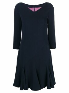 Talbot Runhof ruffle hem midi dress - Blue