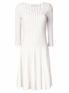 Alberta Ferretti flared embroidered dress - White