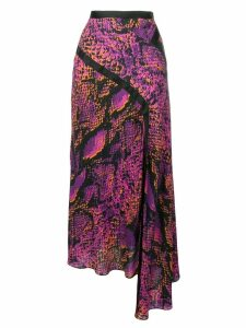 HOUSE OF HOLLAND snakeskin print asymmetric skirt - Pink