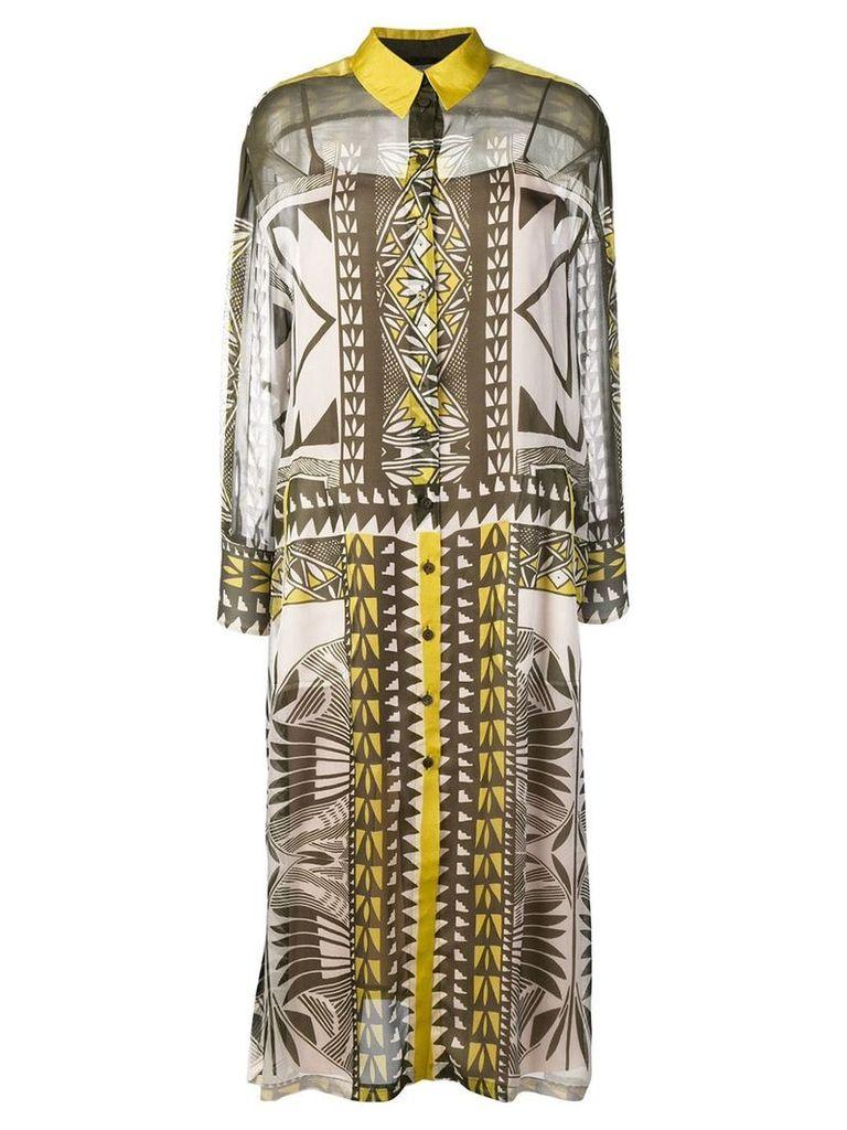 Alberta Ferretti geometric pattern shirt dress - Green
